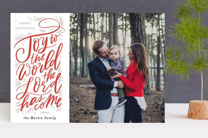 """Joy to the World Pine Swoopt"" - Bohemian Christmas Photo Cards in Crimson by Alethea and Ruth."