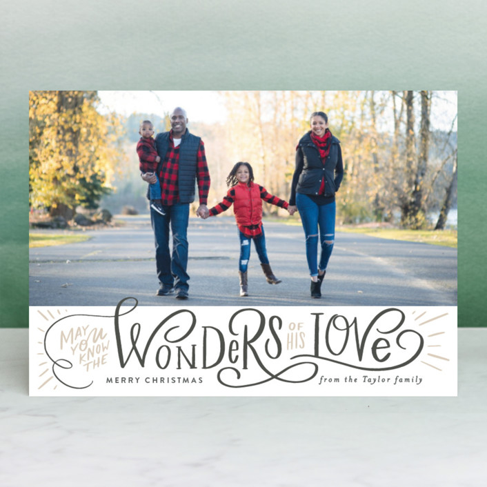 """Wonder of His Love Script"" - Christmas Photo Cards in Celestial by Alethea and Ruth."