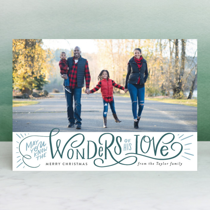 """""""Wonder of His Love Script"""" - Christmas Photo Cards in Celestial by Alethea and Ruth."""