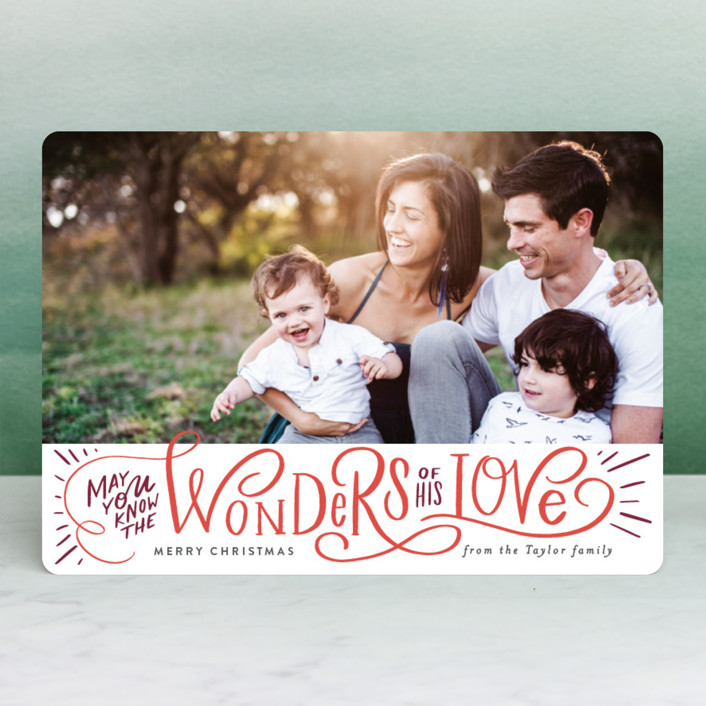 """Wonder of His Love Script"" - Christmas Photo Cards in Pomegranate by Alethea and Ruth."