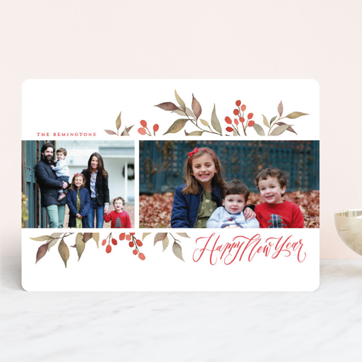 """Olive + Berries"" - Christmas Photo Cards in Holly Berry by Wildfield Paper Co.."