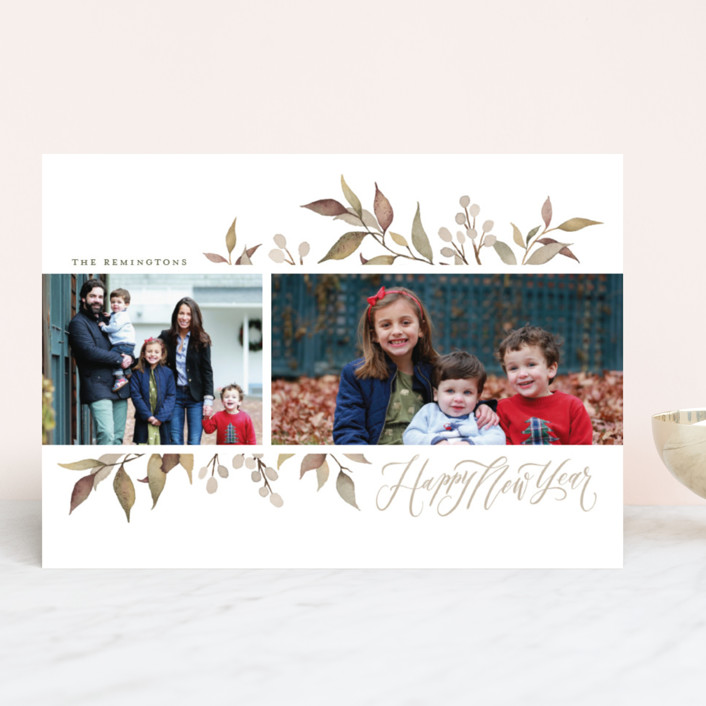 """""""Olive + Berries"""" - Christmas Photo Cards in Frost by Wildfield Paper Co.."""
