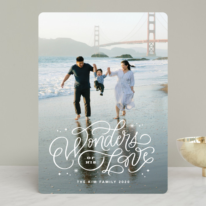 """""""Wonders of His Love Script"""" - Bohemian Christmas Photo Cards in Snow by Kristen Smith."""