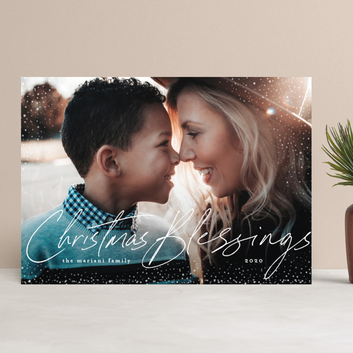 """""""Stardust of Blessings"""" - Bohemian Christmas Photo Cards in Snowman by Chris Griffith."""