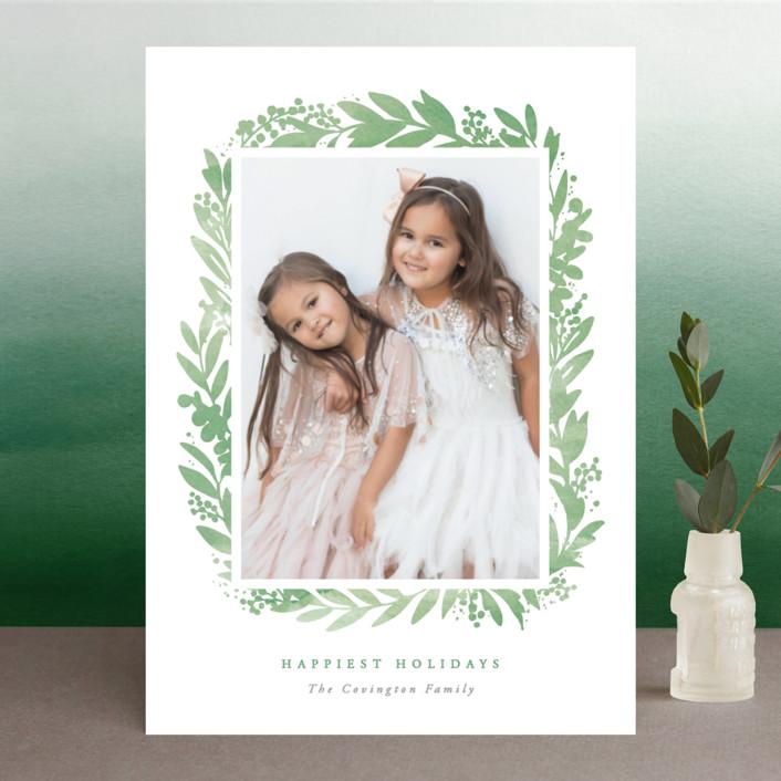 """Festive Botanical Frame"" - Christmas Photo Cards in Poinsettia by Hooray Creative."
