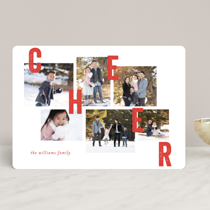 """""""Collaged Merry"""" - Christmas Photo Cards in Berry by Bethan."""