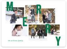This is a green photo christmas card by Bethan called Collaged Merry with standard printing on smooth signature in standard.
