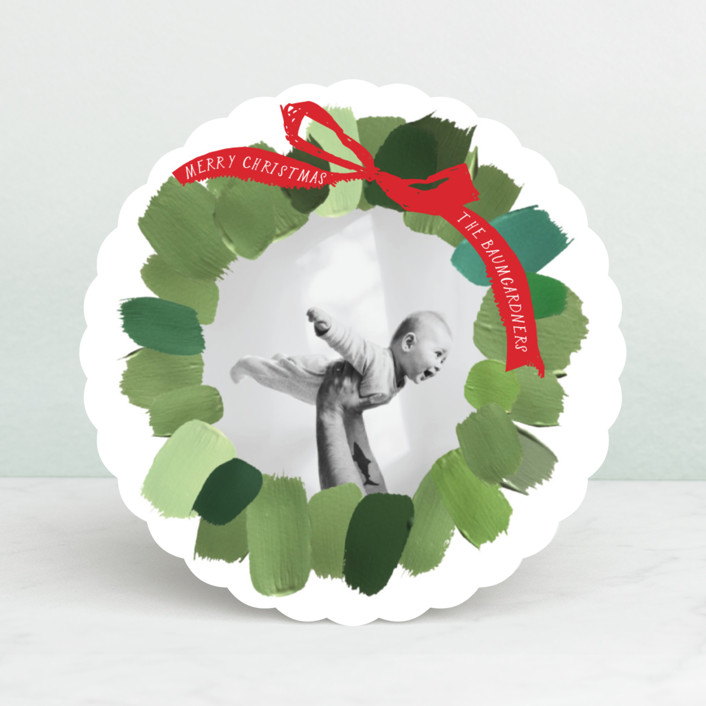 """Painted Wreath"" - Christmas Photo Cards in Snow by Baumbirdy."
