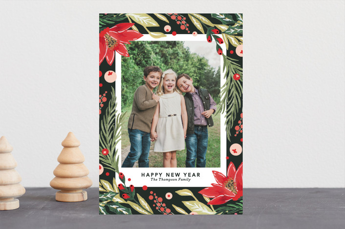 """""""Painted holiday Florals"""" - Christmas Photo Cards in Fir by Kristen Smith."""