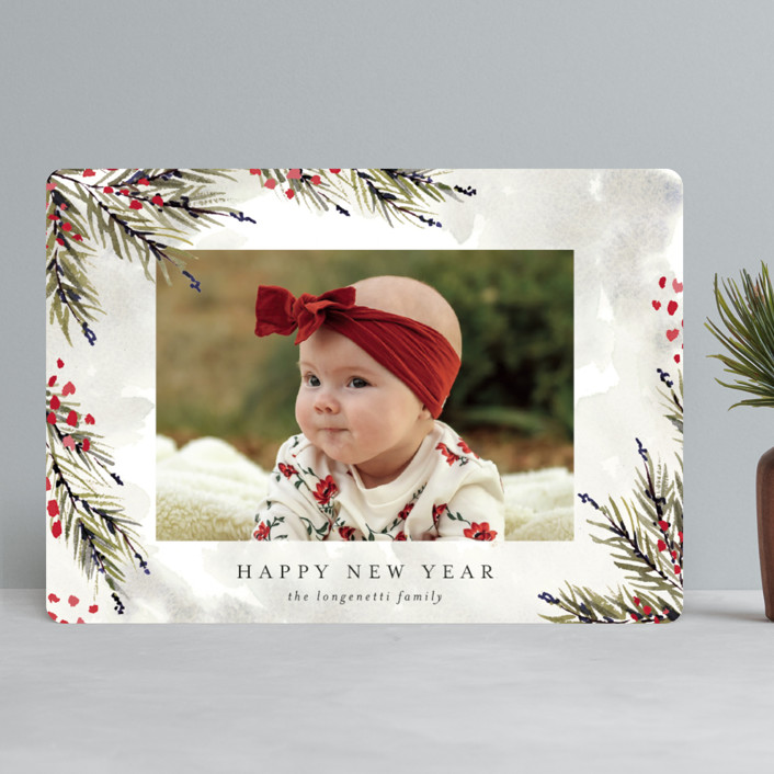 """""""Pine and Berry Study"""" - Christmas Photo Cards in Berry by Chris Griffith."""
