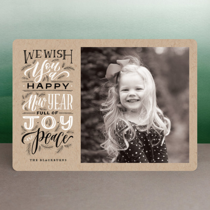 """God of Hope"" - Bohemian Christmas Photo Cards in Kraft by Wildfield Paper Co.."