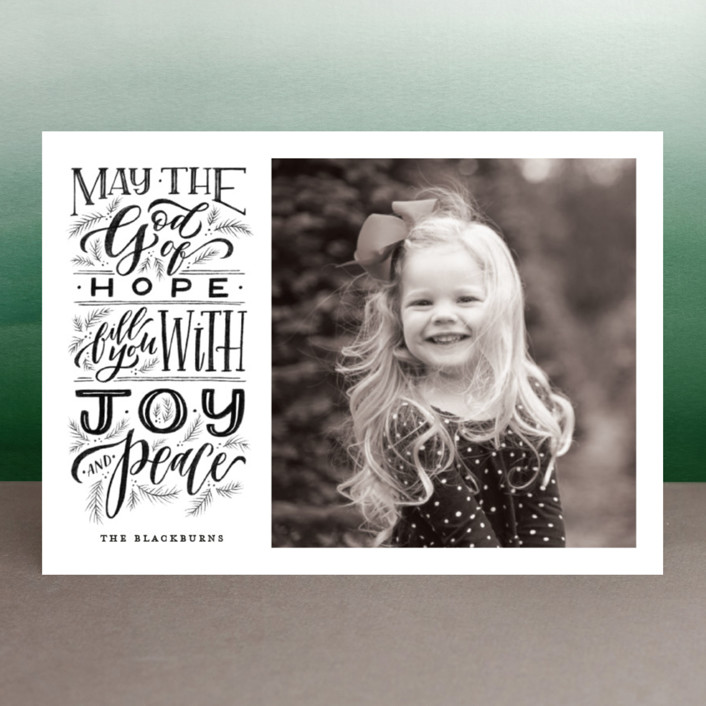 """God of Hope"" - Bohemian Christmas Photo Cards in Midnight by Wildfield Paper Co.."