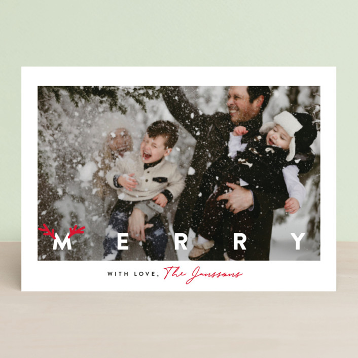 """""""simple merry with antlers"""" - Funny Christmas Photo Cards in Cherry by Cass Loh."""