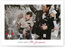 This is a red photo christmas card by Cass Loh called simple merry with antlers with standard printing on smooth signature in standard.