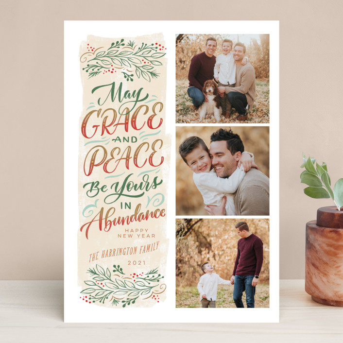 """""""Abundance"""" - Bohemian, Vintage Christmas Photo Cards in Almond by Laura Bolter."""