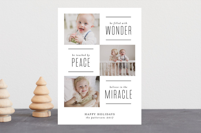 """The Miracle of Christmas"" - Elegant, Modern Christmas Photo Cards in White by Lehan Veenker."