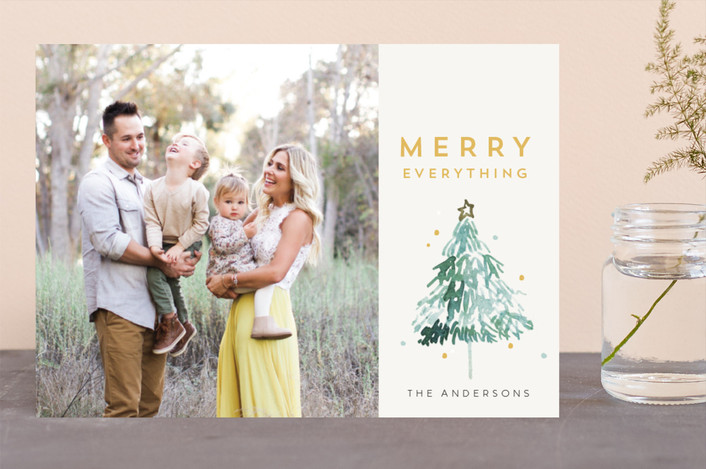 """Watercolor Tree"" - Christmas Photo Cards in Champagne by Cass Loh."