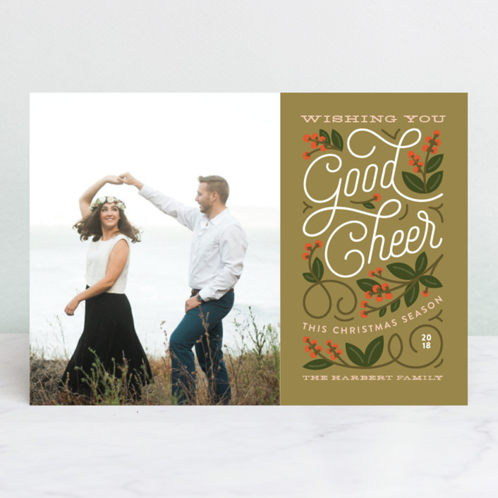 """""""Winterberry"""" - Vintage Christmas Photo Cards in Navy by Genna Cowsert."""