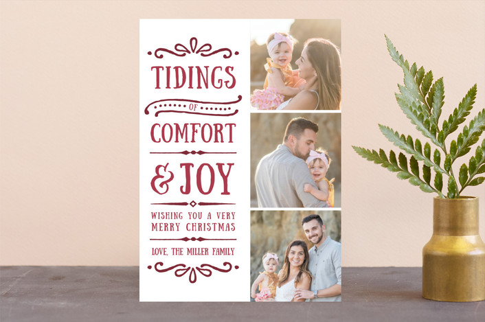 """""""Comfort + Joy"""" - Christmas Photo Cards in Wine by Olivia Goree."""