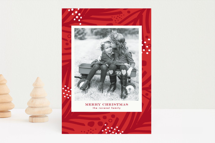 """Sprinkled"" - Christmas Photo Cards in Berry by lena barakat."
