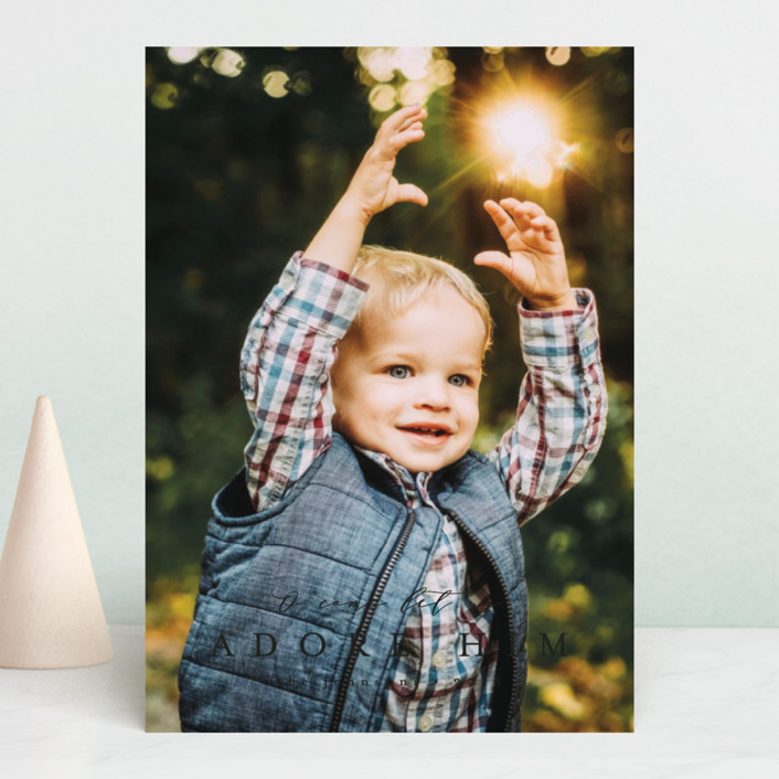 """""""O come let us"""" - Christmas Photo Cards in Coal by peony papeterie."""