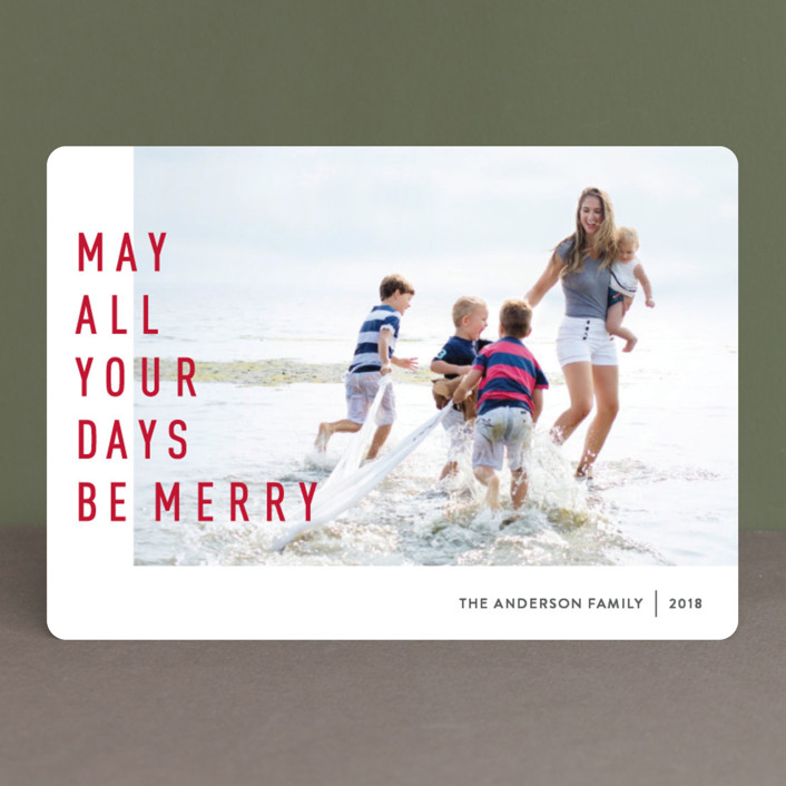 """""""May They Be Merry"""" - Christmas Photo Cards in Rudolph by Abby Munn."""