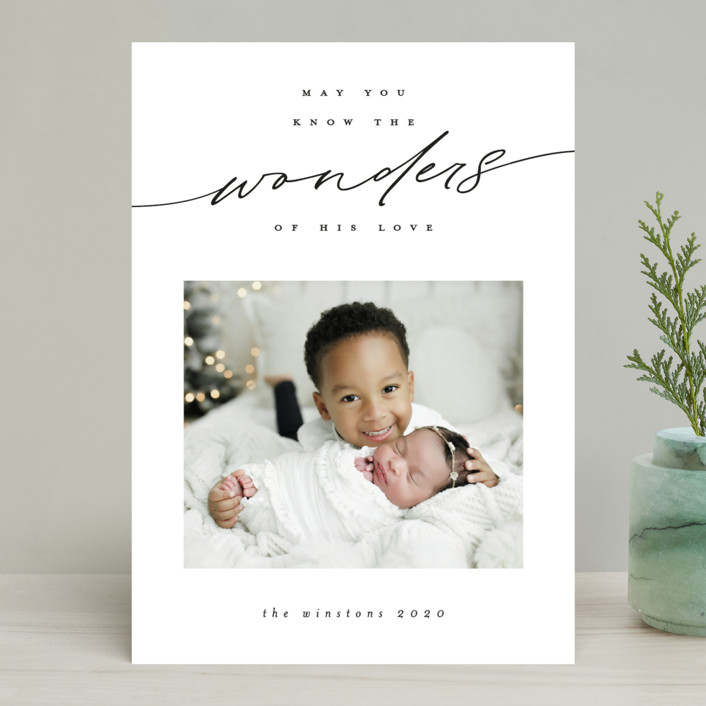 """""""Penned Wonders"""" - Christmas Photo Cards in Linen by Ink and Letter."""
