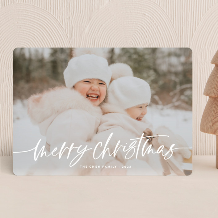 """""""Winter Breeze"""" - Modern Christmas Photo Cards in Snow by Melanie Severin."""