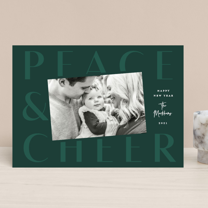 """""""Exalt"""" - Modern Christmas Photo Cards in Pine by Lauren Chism."""