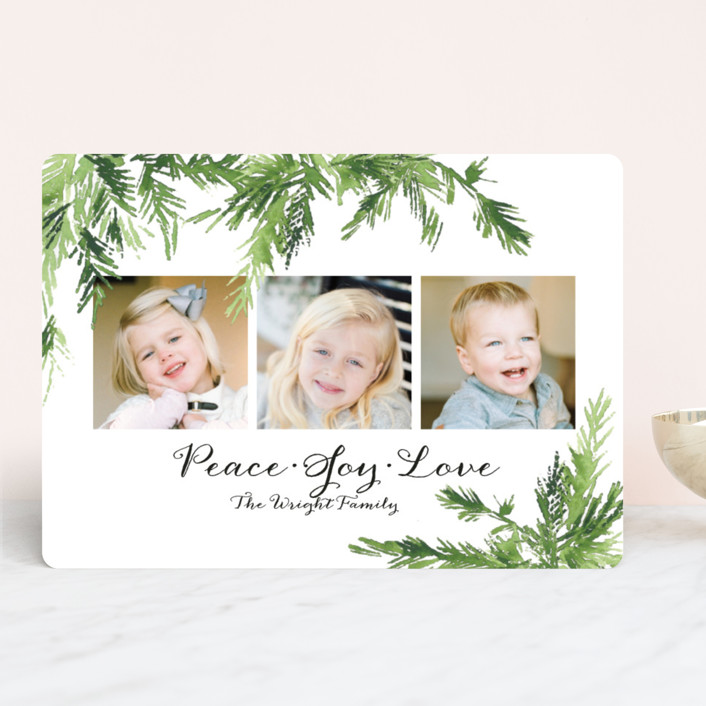 """""""In the Pines"""" - Christmas Photo Cards in Snow by Mere Paper."""