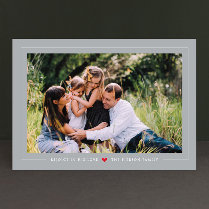 """""""Tiny Red Heart"""" - Christmas Photo Cards in Platinum by Erin Deegan."""