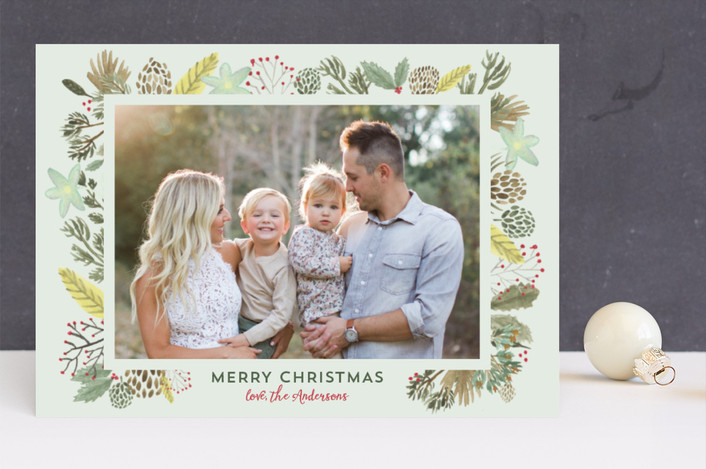 """""""Winter Foliage Frame Christmas Blessings"""" - Christmas Photo Cards in aloe by Erika Firm."""