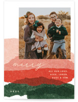 This is a red photo christmas card by Carrie Moradi called jovial tissue collage with standard printing on smooth signature in standard.