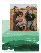 This is a green photo christmas card by Carrie Moradi called jovial tissue collage with standard printing on smooth signature in standard.