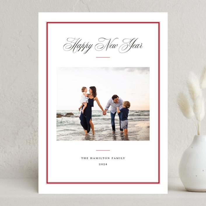 """Elegant Frame"" - Christmas Photo Cards in Crimson by Annie Shapiro."