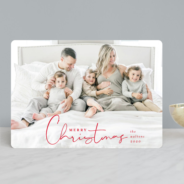 """""""Season's Greeting"""" - Christmas Photo Cards in Berry by Shirley Lin Schneider."""