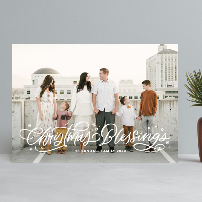 """""""Lettered Blessings"""" - Bohemian Christmas Photo Cards in Snow by Kristen Smith."""
