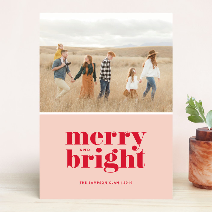 """Cheerful Merry"" - Christmas Photo Cards in Candy by Kristen Smith."