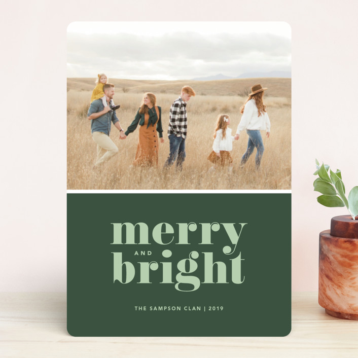 """Cheerful Merry"" - Christmas Photo Cards in Sage by Kristen Smith."