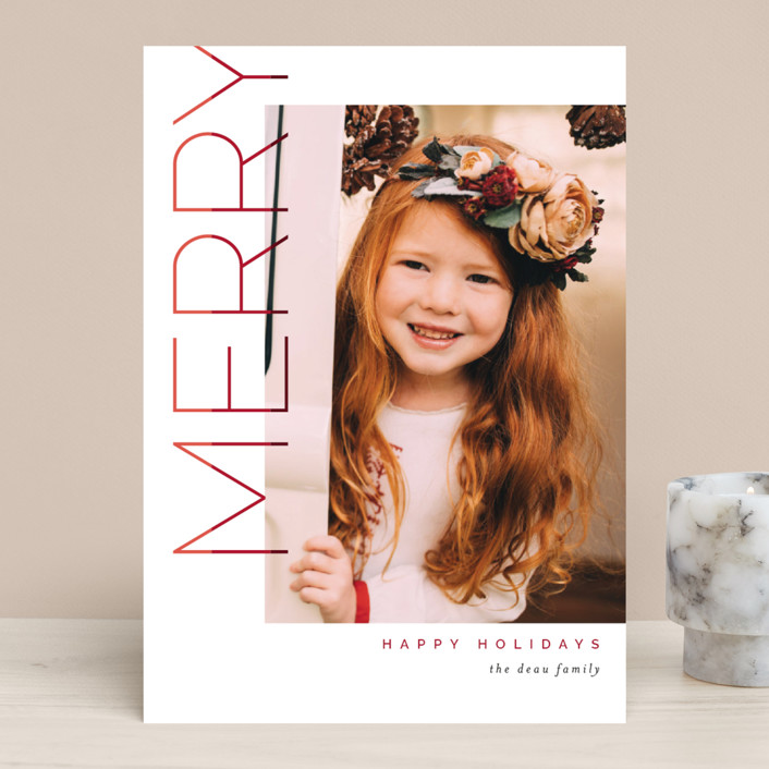"""Merry Stacked"" - Christmas Photo Cards in Cranberry by Pixel and Hank."