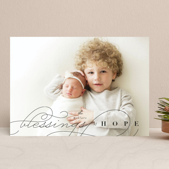 """Blessings of Hope"" - Christmas Photo Cards in Noir by Four Wet Feet Studio."