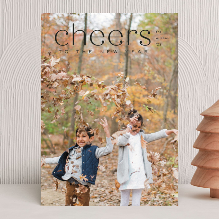 """""""Mod Tidings"""" - Christmas Photo Cards in Midnight by Amy Kross."""