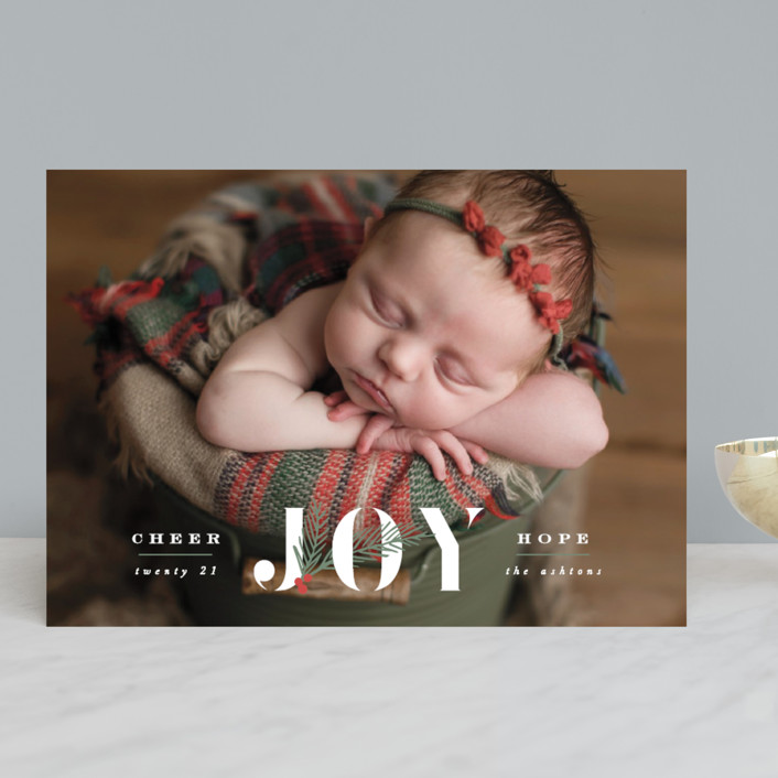 """""""Love Joy and Hope"""" - Christmas Photo Cards in Snow by Hooray Creative."""