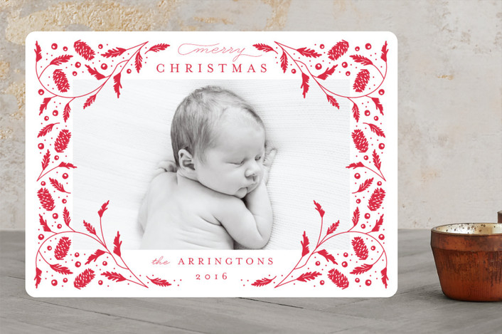 """Boughs and Berries"" - Christmas Photo Cards in Berry by Kristie Kern."