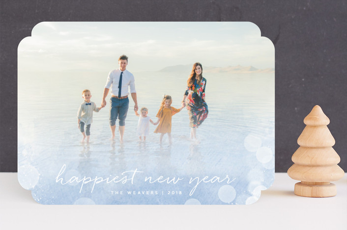 """Radiant"" - Bohemian Christmas Photo Cards in Bluebell by Olivia Raufman."