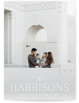 This is a white photo christmas card by Brooke Chandler called Holiday Family Name with standard printing on signature in standard.