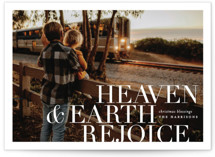 This is a white photo christmas card by Pistols called Heaven & Earth Rejoice with standard printing on smooth signature in standard.