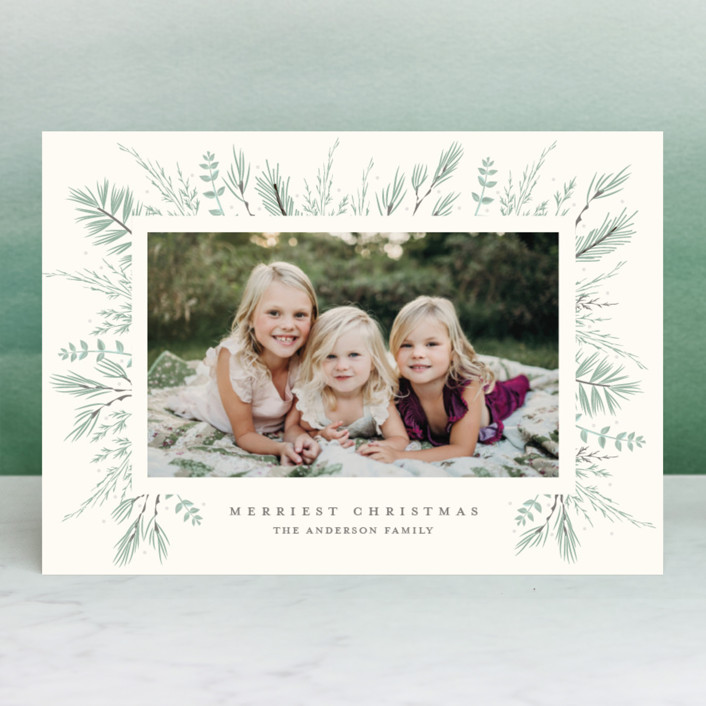 """Bed of Greens"" - Christmas Photo Cards in Crimson by Susan Moyal."