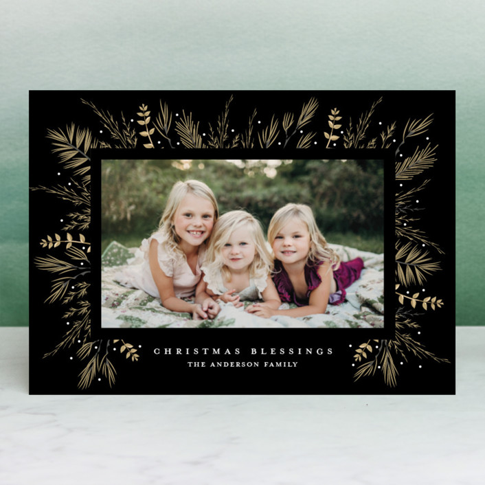 """""""Bed of Greens"""" - Editor's Picks Christmas Photo Cards in Snow by Susan Moyal."""