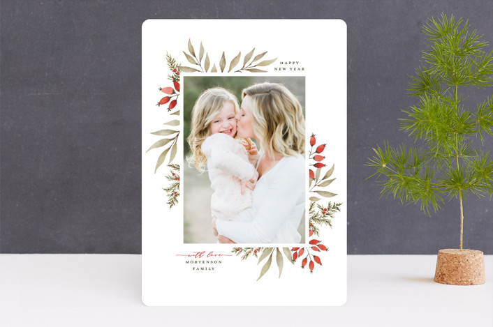 """Elegant Floral Frame"" - Christmas Photo Cards in Holly Berry by Wildfield Paper Co.."